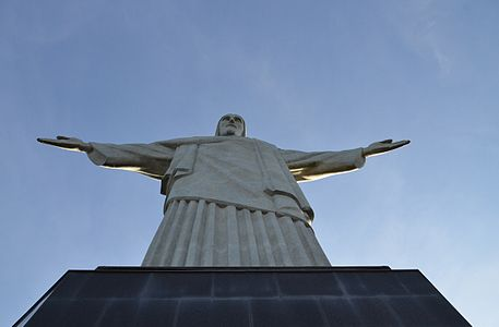 View to the sky of the statue of Christ the Redeemer on top of Corcovado, 709 meters above sea level.