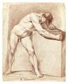 Croquiteckning föreställande naken man, 1760-tal - Skoklosters slott - 99354.tif