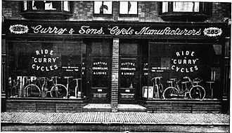 Dennis Curry - Currys Bicycle shop at 285-287 Belgrave Gate, Leicester, in 1903