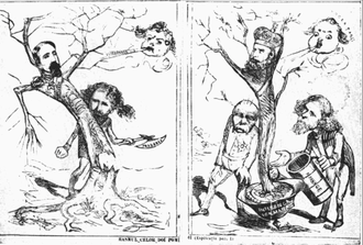 Republic of Ploiești - Anti-dynasty cartoon, published in Ghimpele, 1872. Left panel: Alexander John Cuza betrayed by Ion Brătianu; right panel: Carol I, supported by Otto von Bismarck and Brătianu, feeding off German influence and economic privilege