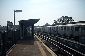 Cypress Hills (BMT Jamaica Line) - The station, middle trackbed and a R42 train stopped.