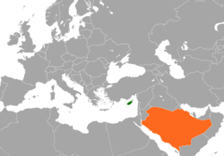 Map indicating locations of Cyprus and Saudi Arabia