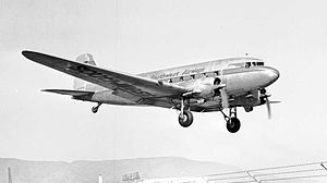 San Francisco International Airport - Southwest Airways C-47 landing at SFO in 1948