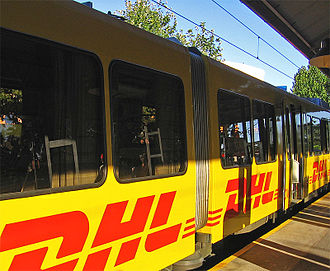 DHL Express - DHL advertising on the Tren de la Costa light railway, Buenos Aires