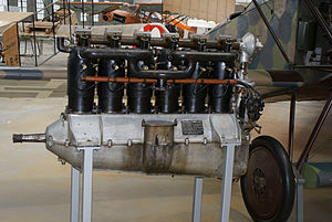 "Mercedes D.III - Original 160 hp Mercedes D.III, with ""side-slot"" rocker-arm design SOHC valvetrain atop the cylinders."
