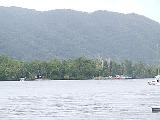 Daintree River Ferry - View of the ferry landing point on the northern bank of the Daintree River from the commercial pontoon pier where trips of the river depart.