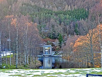 Breadalbane Hydro-Electric Scheme - Dalhonzie power station outfow, power station in the background