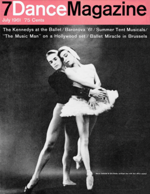 Dance Magazine - Maria Tallchief and Erik Bruhn on the front cover of Dance Magazine, July 1961