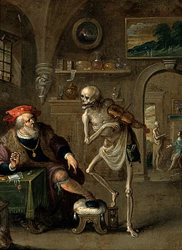 Death and the miser. Oil painting by Frans II van Francken. Wellcome V0017591