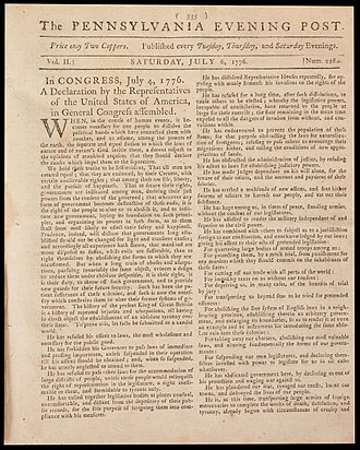Museum of the American Revolution - Image: Declaration First Newspaper Printing