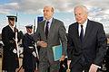 Defense.gov News Photo 110208-D-9880W-006 - Secretary of Defense Robert M. Gates left escorts French Minister of Defense Alain Juppe through an honor cordon and into the Pentagon on Feb. 8.jpg