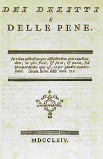 On Crimes and Punishments - Frontpage of the original Italian edition Dei delitti e delle pene