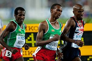 Dejen Gebremeskel - Dejen (centre) racing against Mo Farah and Imane Merga in the 2011 World Championships final