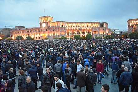 Demonstrations in Republic Square on April 20, 2018 Demonstration, Republic Sq. Yerevan, Apr 20, 2018.jpg