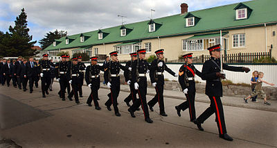 Detachment of the Falkland Islands Defence Force in ceremonial dress