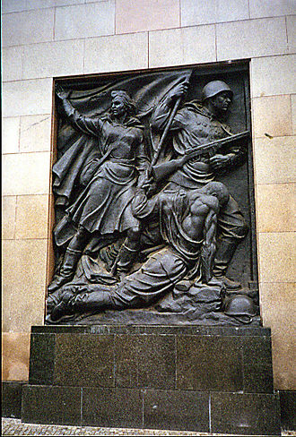 Soviet War Memorial (Schönholzer Heide) - Detail from the left side of the portal of Schönholzer Heide
