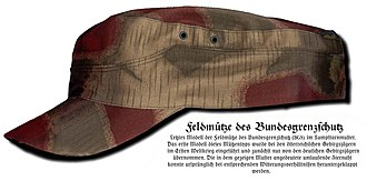 "Cap - German M43-style field cap of the ""Bundesgrenzschutz"" (BGS), the German Federal Police"