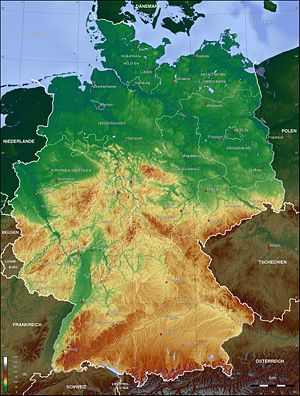 English: Topographic map of Germany Deutsch: T...