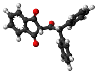 Ball-and-stick model of the diphenadione molecule
