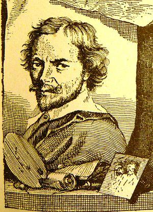 """Dirk van Hoogstraten - Dirk van Hoogstraten in vol.1 of Houbraken's """"Schouburg"""", 1718."""