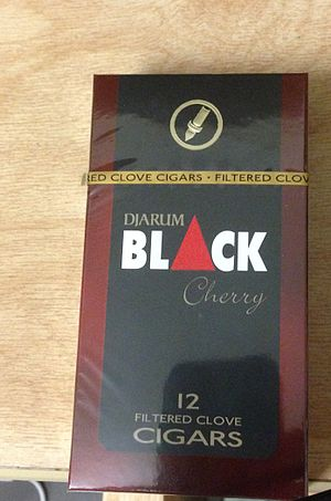 Djarum - A pack of twelve Djarum Black Cherry clove filtered cigars from the United States.