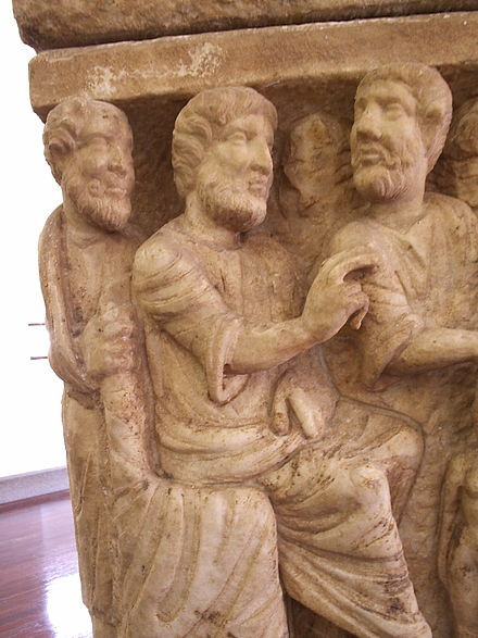 The earliest known depiction of the Trinity, Dogmatic Sarcophagus, AD 350.Vatican Museums Dogmatic sarcophagus.JPG