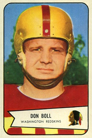 Don Boll - Boll on a 1954 Bowman football card