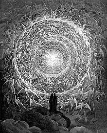A man staring into a large swirl of angels and light