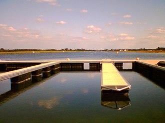 Dorney Lake - The rowers' starting line at Dorney Lake