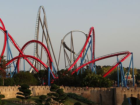 Dragon Khan and Shambhala from far Port Aventura