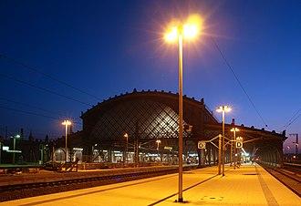 Dresden-Neustadt station - Northern view in the evening