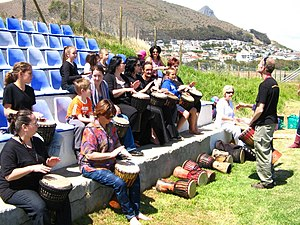 Neopaganism in South Africa - Drumming lessons at Beltaine Festival Cape Town 2010