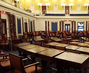Edward M. Kennedy Institute for the United States Senate - A view of the Edward M. Kennedy Institute's replica Senate Chamber