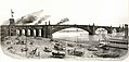 Eads Bridge. Shows finished bridge with statues which were not installed (ultimately placed on roof of Equitable Building).jpg