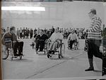 Early Wheelchair Rugby game at Pembrey Airfield near Llanelli, Wales. c1960's Game commencing.jpg