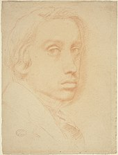 Self-portrait of the artist Edgar Degas, in red chalk on paper, from about 1855, in the collection of the National Gallery of Art in Washington, DC.