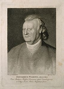 Edward Waring. Stipple engraving by Facius after T. Kerrich. Wellcome V0006150.jpg