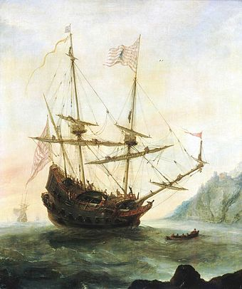 The discovery of the New World by Italian explorer Christopher Columbus Eertvelt, Santa Maria.jpg