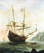 The Santa Maria at anchor  painted c. 1628 shows the famous carrack of Christopher Columbus