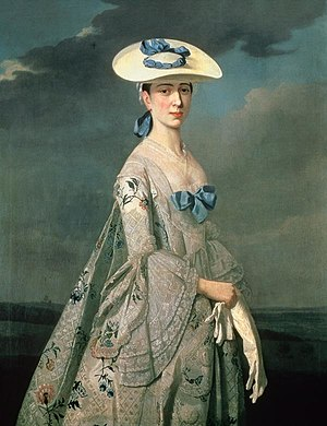 Bergère hat - Eleanor Frances Dixie, the daughter of Wolstan Dixie c. 1753, by Henry Pickering. The sitter is wearing a bergère hat.