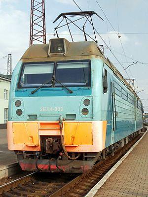 Электровоз 2ЕЛ4-003 на станции