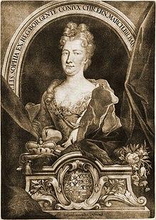 Elisabeth Sophie von Brandenburg, Schabkunstblatt (um 1710) von Christoph Weigel (Quelle: Wikimedia)