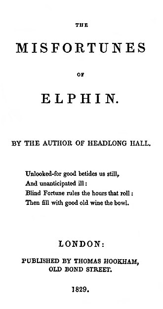 The Misfortunes of Elphin - Title-page of the first edition