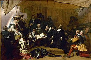 Myles Standish - The Embarkation of the Pilgrims, 1843, US Capitol Rotunda. Myles and Rose Standish are prominently depicted in the foreground on the right.