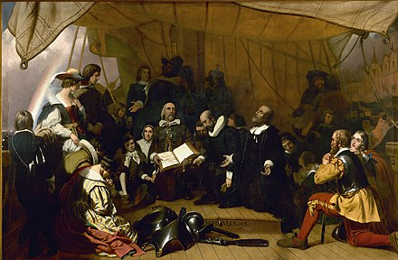 Pilgrims John Carver, William Bradford, and Miles Standish, at prayer during their voyage to America. 1844 painting by Robert Walter Weir. Embarkation of the Pilgrims.jpg