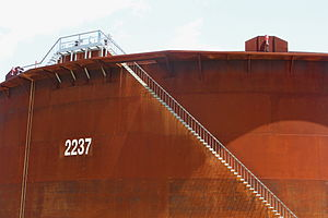 Cushing, Oklahoma - The stairs give a relative perspective of the size of the massive storage tanks in Cushing