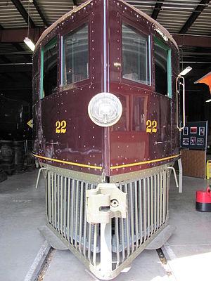 "Virginia and Truckee Railway Motor Car 22 - The distinctive ""wind-splitter"" nose of Motor Car 22"