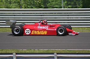Ensign Racing - An Ensign N177 being raced in a Historic Grand Prix at the Lime Rock Park circuit in 2009.
