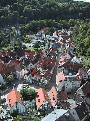 Eppstein - Eppstein's half-timbered buildings as seen from the castle tower