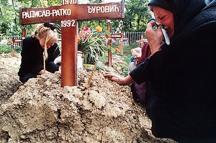 A Serb woman mourns at a grave at the Lion's cemetery in Sarajevo, 1992 Evstafiev-bosnia-sarajevo-woman-cries-at-grave.jpg